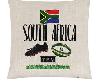 South Africa Rugby Linen Cushion Cover