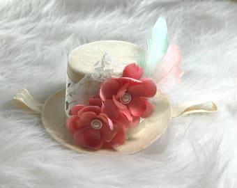 Mad Hatter Fascinator Top Hat, Mini Top Hat, Birthday Party Hat, Smash Cake Headbands Baby Girl, Birthday Party Headbands Hair Bows