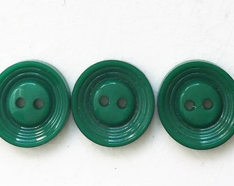 vintage kelly green buttons--matching lot of 5