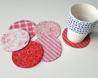 Set of six coasters, red