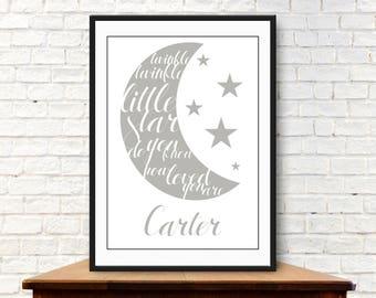 Personalised Twinkle Twinkle Little Star Nursery Decor Digital Print