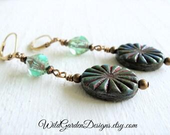Seafoam and Pebbles Czech Glass Earrings Natural Boho Style Gift For Her Subtle Earthy Color Aqua Green Blue Dangles Ocean Treasure Earrings