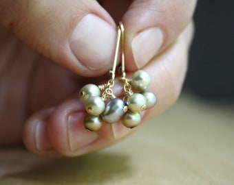 Pearl Leverback Earrings Gold . Pearl Earrings Dangle Gold . Pearl Cluster Earrings Gold NEW