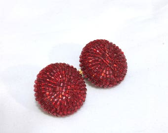Ruby Red Slippers Glass Bead 1930's earrings clip