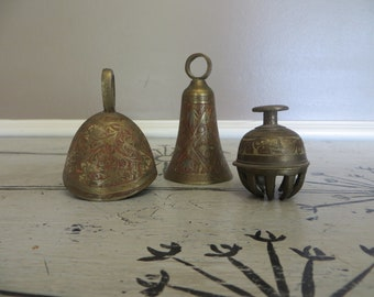 Vintage Set of 3 Brass Bells Elephant Bell Vintage Bell Old Bell Metal Bell Claw Bell  Indian Decor