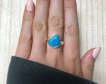 Sterling Silver Turquoise Ring. Size 8