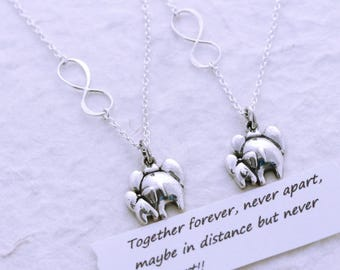 Infinity necklace, elephant necklace, mother daughter Sister necklace, friendship necklace, Jewelry Set, COPY RIGHT MonyArt Original Design