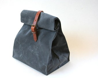 Charcoal Gray Waxed Canvas Lunch Bag