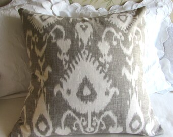 EURO pillow cover 24x24 decorative linen kravet bristow smoke gray fabric