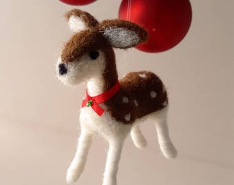 Deer, unique holiday ornament, wool felt woodland animal decor, homemade Christmas ornaments