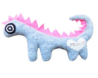Dinosoaur, Pink Grey Dinosaur, Dinosaur Softie, Plush Dinosaur, Dinosuar Plushie, Dragon, Dragon Soft Toy, Plush Dragon