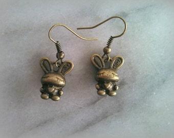 Bunny Love Earrings, Antique Bronze Metal, Bunny Rabbit, Dangle Earrings, Gift For Her, By ktnunna