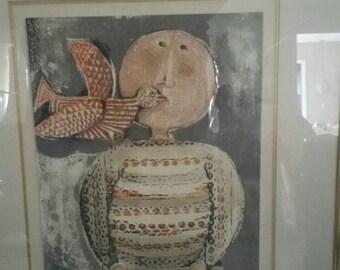"Graciela Rodo Boulanger ""Child with Bird on Shoulder"" Lithograph Vintage Mid Century Modern Art"