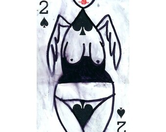 Original aceo, angel illustration, Original Atc, watercolor drawing, small painting, artist trading card, original art, miniature art, weird