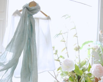 French blue linen scarf, woad dyed scarf, organic pale light blue wrap, hand dyed fine washed linen stole, sustainable fashion gift for her