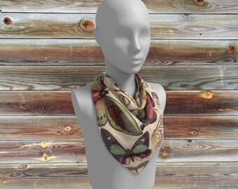 Butterfly Scarf  ~  Botanical butterfly illustrations colorful print  scarves, shawl, cover-up, mom, earth tones