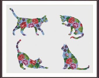 Floral Cat cross stitch pattern - set of 4 patterns - Instant Download PDF