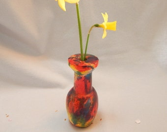 Graduation gift for her, dyed maple bud vase, blue, red, purple weed pot
