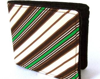Necktie Wallet - Recycled Green\/Brown Striped Tie