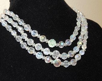1950s Aurora Borlies 3 strand necklace
