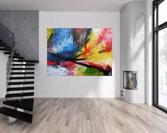 Modern abstract artwork in XXL by Alexander Zerr acrylic on canvas 150x200cm #784