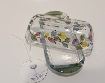 Hand Painted Glass Butter Dish With Multi-Colored Blooms On A Vine