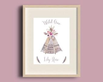 Personalised Girls Print, Personalised Nursery Print, Girls Nursery Art, Girls Room Print, Girls Room Decor, Tribal Print, Tribal Nursery
