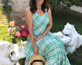 Green plaid cotton summer dress