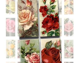 Instant Download - Vintage Floral Roses Digital Collage Sheet - 1x2 inch rectangles for pendants glass tiles, magnets 229