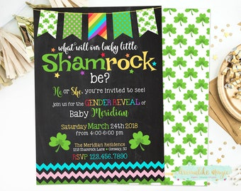 Shamrock Gender Reveal, St. Patrick's Day Gender Reveal, Lucky Charm, Printable Invitation, Rainbow Gender Reveal, Baby Gender Reveal, March