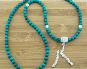 Turquoise Howlite Buddhist Prayer Beads Necklace with Ice Crystal Quartz   8mm   108 Mala Prayer Beads   Free Shipping