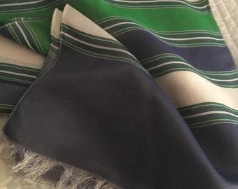 Vintage Raw Silk Long Scarf Fringe 70's Stripe Very Cool