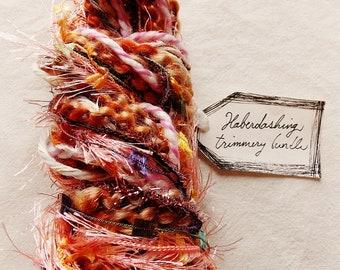 Peach Tart warm brown pink jewel tassel fringe pastel painterly trim Novelty Fiber Yarn Sampler Bundle