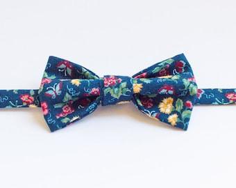 Handmade Bow Tie - Indigo Floral