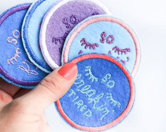 So freakin' tired patch. Mom patch. Patch for jacket. Pregnant mom gift. Tired mom. Gift for mom. Iron on patch. Pregnancy Gift. Mom gifts.