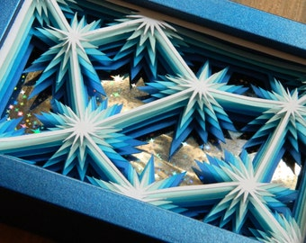 3D Paper Sculpture Sparks Blue