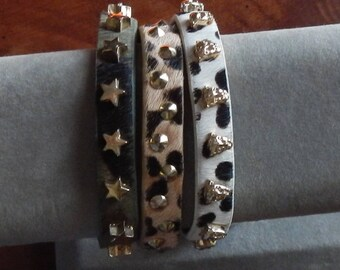 Trio of Unique Studded Cuff Bracelets!