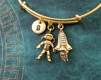 Astronaut Bangle Gold Astronaut Bracelet Rocket Bracelet Astronaut Jewelry Expandable Bangle Stackable Bangle Adjustable Bangle Personalized