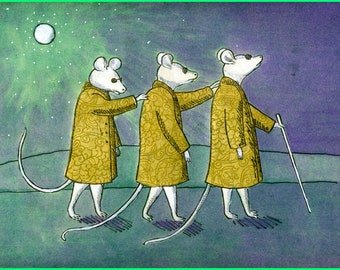 Three Blind Mice in Yellow Coats,  5x7 Hand Made Card