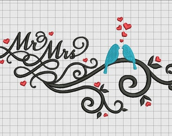 Mr. and Mrs. Wedding Announcement Embroidery Design in 4x4 5x7 and 6x10 Sizes