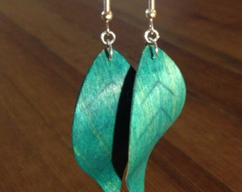 Wood Earrings/ Large Teal Leaf Wood Earrings/ Wood Jewelry