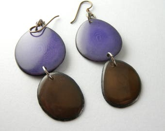 Grape Purple and Chocolate Brown Tagua Nut Eco Friendly Earrings with Free USA Shipping #taguanut #ecofriendlyjewelry