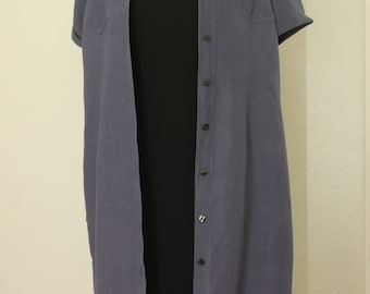 Vintage Button Down Maxi Shirt Dress by Style & Co in Solid Purple  Size 14 Petite