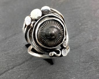 Ring black Ammonite fossil sterling silver Ring Black ammonite sterling silver 925 thousandth size 55 size us 7 Swiss 15 euro