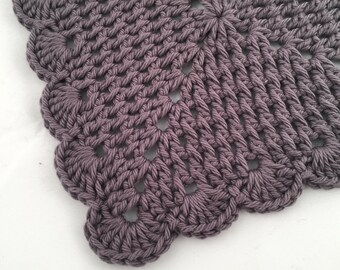 Crochet Wash Cloth, Scalloped Granny Square Cotton Dish Cloth, Cotton Dish Rag, Pewter Grey Personal Care Washcloth