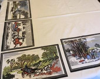 Vintage tablecloth with village scenes