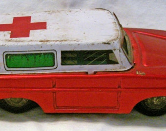 Vintage Rustic Made in China Funeral Hearse Toy Red & White Cross Morgue Death Cemetary