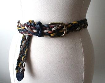 Vintage Genuine Leather Capezio Multicolor Braided Boho Belt M/L