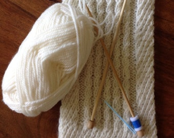 Knitting Kit Scarf - Faux Cable and Twists Pattern