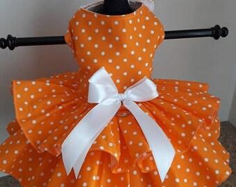 Dog Dress orange with white polkadots